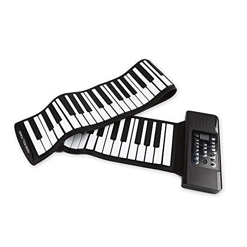 Meteor fire Tragbare Roll-Up-Klavier, 88 Tasten Elektronische Tastatur Handrolle mit 128 eingebauten Tönen und 14 Demo-Songs, Anfänger