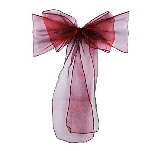 vlovelife 272cm X 18cm Organza Stuhl Schärpen Schleifen Schleife breitere Stuhlhusse Schleife Hochzeit Party Geburtstag Banquet Dekoration 100Stück burgunderfarben
