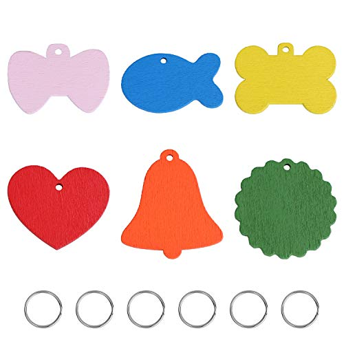 D-buy Wooden Handwriting Pet ID Tags, Personalized Dog Tags and Cat Tags, can be Written on Both Sides, Various Shapes and Colors, Pet Tags with Name and Number, for Dogs Cats Puppy Kitten(6 Pack)