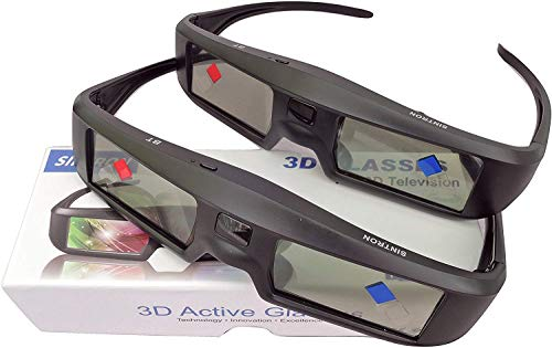 2X 3D Active Shutter Glasses Rechargeable - Sintron ST07-BT for RF 3D TV, 3D Glasses for Sony, Panasonic, Samsung 3D TV, Epson 3D projector, Compatible with TDG-BT500A TY-ER3D5MA TY-ER3D4MA TDG-BT400A