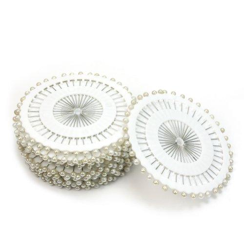 Lot De 480 36mm Blanc Épingle Tête Ronde Perle Mercerie Couture Aiguille Coiffes