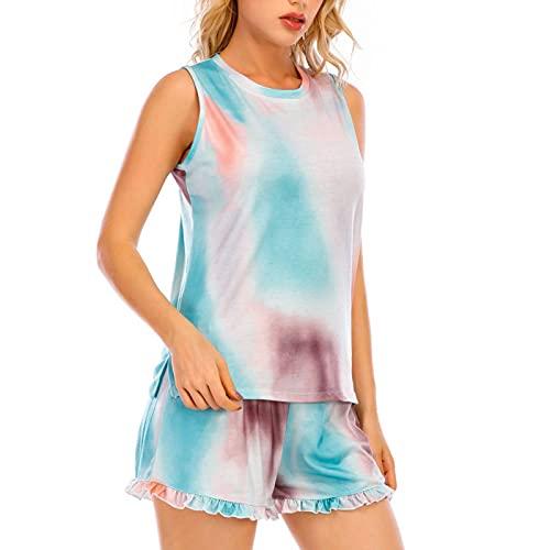 Pantalones cortos y tops para mujer, corbata, colorante, volantes, cortos, lounge 2 piezas, traje de pijama para muchas ocasiones, por ejemplo, descansar, dormir, ver la televisión.