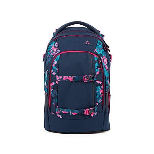 satch Pack Awesome Blossom, ergonomischer Schulrucksack, 30 Liter, Organisationstalent, Blau/Pink/Türkis