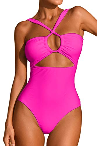 LEISUP Cutout One Piece Swimsuit for Womens Adjustable Tie Front Tummy Control Monokini,ROSEO L