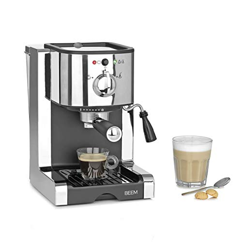 Beem 03260 Perfect | Espresso-Siebträgermaschine mit Kapseleinsatz für Nespresso Kapseln-20 bar | Basic Selection | Milchschaumdüse | Kaffeepulver, Pads, kapseln, Edelstahl