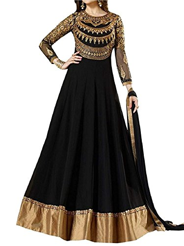 RR Crafts & Creations Women's Black Georgette Embroidery Anarkali Latest Party...