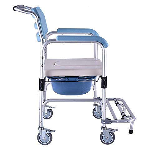 ZXY-NAN Bathroom Wheelchairs Family Elderly Pregnant Woman Toilet-Aluminum Shower Chair/Folding Bedside Toilet/Bedside Toilet/Casters and Padded Seat, Commode Pail and Cover Size:56 * 53 * 90