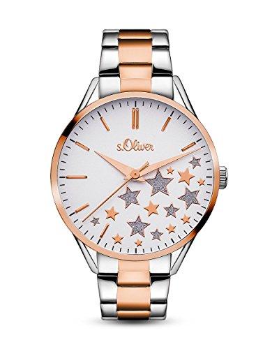 s.Oliver Damen-Armbanduhr Analog Quarz, silber-rosegold