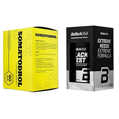 SOMATODROL 60 Cápsulas + BLACK TEST 90 Cápsulas | Potenciador de testosterona para hombres + Matriz de reducción de grasa | Pastillas anabólicas para el crecimiento de la masa muscular