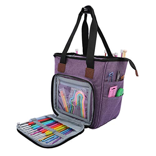 JOZEA Tasche für Wolle, Tasche Stricken, Häkeln Taschen für Unvollendete Projekte, Häkelnadeln und Anderes Zubehör (Kein Zubehör Enthalten)