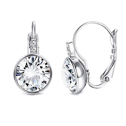 Sllaiss Clear Crystal Leverback Earrings Made with Austrian Crystals Drop Earrings White Gold Plated 8mm Round Solitaire Crystal Jewellery for Women