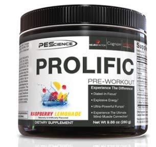 PEScience Prolific Pre-Workout Booster Trainingsbooster Muskelaufbau Bodybuilding 280g (Raspberry Lemonade - Himbeer Limo)
