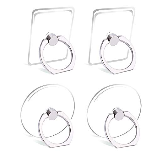 Cell Phone Ring Holder Stand Transparent Finger Grip Loop 360 Degree Rotation Finger Ring Stand (4 X Silver)