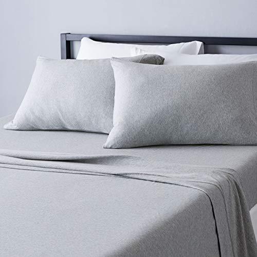 Amazon Basics - Juego de sábanas jaspeado de punto - Cama doble, gris claro, Matrimonio doble