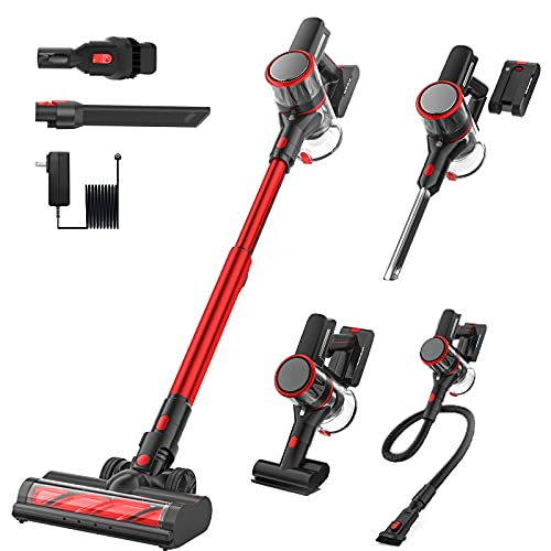 Cordless Stick Vacuum Cleaner, 24Kpa 6 in 1 Vacuum Cleaner for Carpet and Floor, 40 Minutes Running Time, 200W Brushless Motor, with Multi-Attachments for Daily Usage and Deep Cleaning