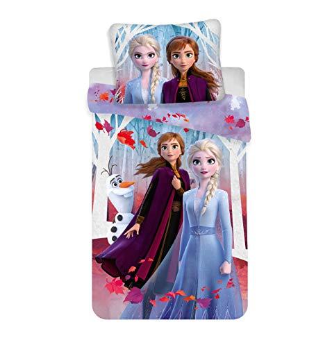 Theonoi Juego de ropa de cama para niños, funda de almohada y funda de edredón a elegir: Princess Ladybug Barbie Minnie Frozen Kitty Paw Patrol Monster Minnie Pony – 100% algodón (Frozen II)