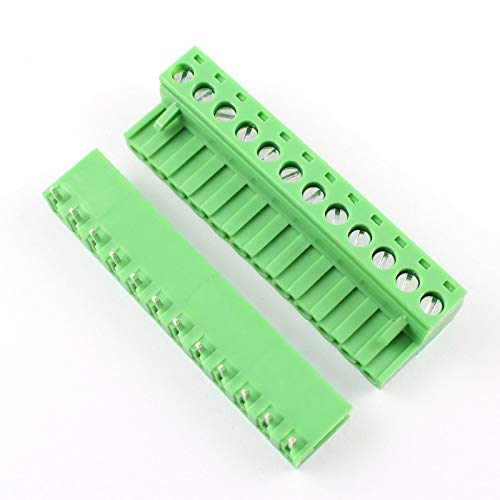 DBParts 5 Sets 12-Pin (12 Pole) Angle Screw Terminal Block Connector 5.08mm Pitch Panel PCB Mount DIY