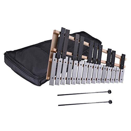 Dirgee 25 Hinweis Glockenspiel Xylophon Pädagogisches Musikinstrument Perkussionsgeschenk mit Tragekasten - beinhaltet 2 hölzerne Schlägereien