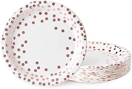 Topways® Vajilla desechable de lunares dorados, para fiestas de cumpleaños, bodas, decoraciones de aniversario, paquete de 48 unidades (9 pulgadas)
