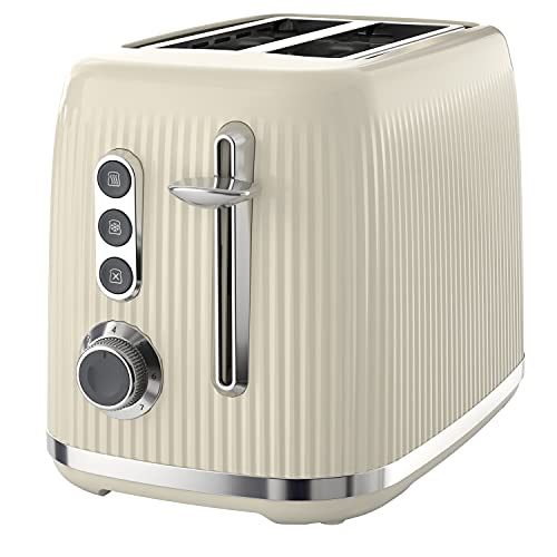 Breville Bold Vanilla Cream 2-Slice Toaster with High-Lift and Wide Slots   Cream and Silver Chrome [VTR003]