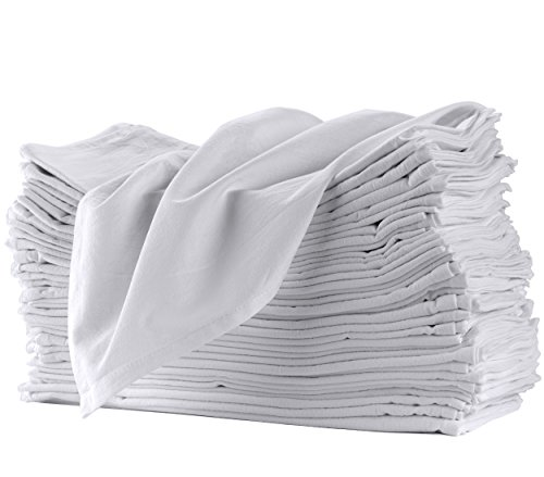 Flour Sack Towels for Kitchen 12 Pack 100% Cotton Dish Towels. Pre-Washed, Lint Free, 27' x 27', Machine Hemmed Edges. Clean, Simple, Traditional Look. Great for Cleaning