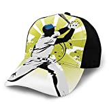 Unisex Sports Decor Pitcher Hits The Ball Fast Stars All Over The Bat Speed Strong Game Motion Team Graphic White Green Fashion Plain Adjustable Baseball Cap Sun Cap