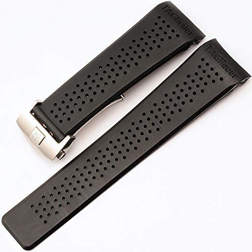 RSB Horlogeband voor Horlogeband Siliconen Band 22 24mm Waterdichte Rubber Horlogeband Vervang Polshorloge Riem Accessoires (Band Kleur: Zilver, Band Breedte : 22mm)