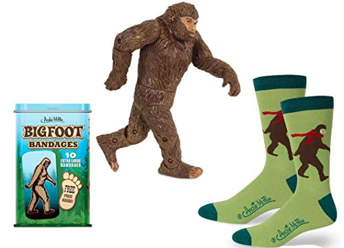 Bigfoot Gag Gift Trio - Bigfoot Action Figure, Socks, and Bandages - Perfect for The Bigfoot Lover in Your Life!