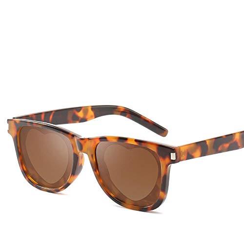 YOULIER Gafas de sol cuadradas de moda retro mujeres mujeres mujeres corazón gafas en forma de corazón gafas de sol mujer Uv400 S817-6