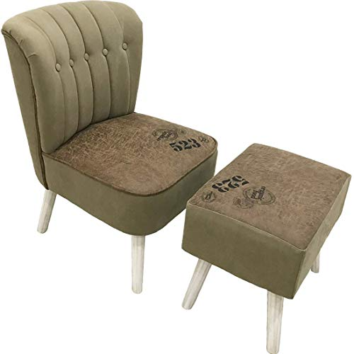 YIFONTIN Accent Chairs Ottoman Set of 2 Slipper Chair Side Chairs Foot Rest Stool Set for Bedroom Living Reading Room, Brown Olive Green.