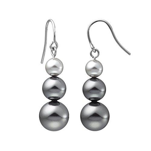 Heideman Ohrringe Damen 3 Perlen Ohrhänger aus Edelstahl silber farbend poliert Ohrstecker hängend für Frauen mit Swarovski Perlen grau rund 6 8 10mm