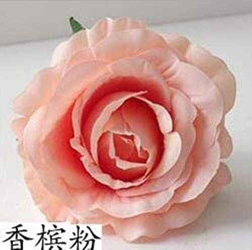 ZXC Home 7 stuks grote bloemenkop, kunstrozen, bloemen, zijden bloemen, DIY, straat, canvas, achtergrond voor bruiloft, roze, bloemenmotief, kleur: roze Champagne Pink