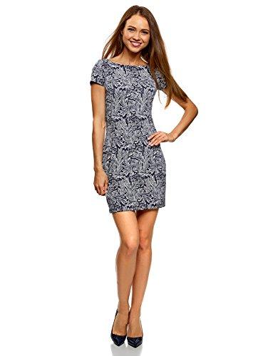 oodji Ultra Damen Jerseykleid mit Druck, Blau, DE 34 / EU 36 / XS