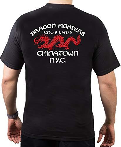 feuer1 T-shirt des pompiers de New-York Inscription Dragon Fighters Chinatown Engine 9 Ladder 6 Noir noir noir L