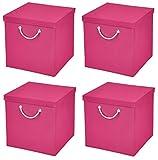 Caja plegable multicolor para estantería de 30x 30x 30cm, con tapa a juego.