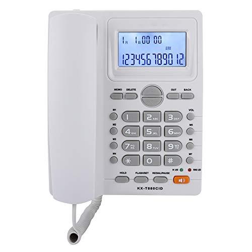 01 Teléfono con Cable, Pantalla LCD Teléfono con Cable de Escritorio, con Altavoz Extensión de Doble Puerto para Oficina para Uso doméstico Uso de Oficina(White)