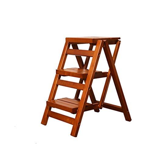 QFF Massivholz-Drei-Stufenleiter, Convenient Klappleiter Kreative Stehleitern Hocker Multifunktions-Blume/Bücherregal - beweglicher Entwurf falten (Color : B, Size : 32.5 * 55.5 * 66cm)