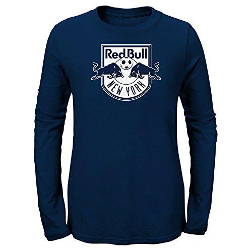 OuterStuff MLS New York Red Bulls Girls -Long Sleeve Liquid Hexagon Tee, New Navy, Large (14)