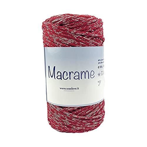 TRICOT CAFE' Cinta de macramé trenzada de algodón biológico para tejer a ganchillo, fabricación de artículos para la casa, mezcla roja