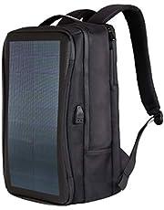 HAWEEL 2way ソーラーリュック 大容量 撥水 バックパック USB充電 通学/通勤//防災/旅行/登山に対応、曲がれるソーラーパネル付き、ナイロン&PUレザー製 (14W A)