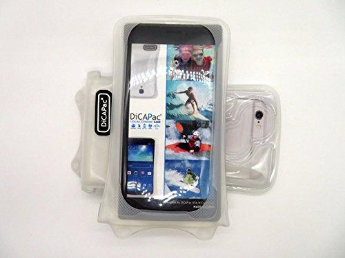 Funda sumergible DiCAPac WP-i10 para iPhone 3, 3G, 3S, 4, 4S, 5, 5S/ 5C, y 6 de Apple en Blanco (Sistema de sujeción con velcro doble; protección certificada bajo el agua IPX8 hasta 10 m de profundidad; flotadores incorporados que protegen y sirven para flotar; objetivo Super Clear de policarbonato; asa para el cuello incluida)