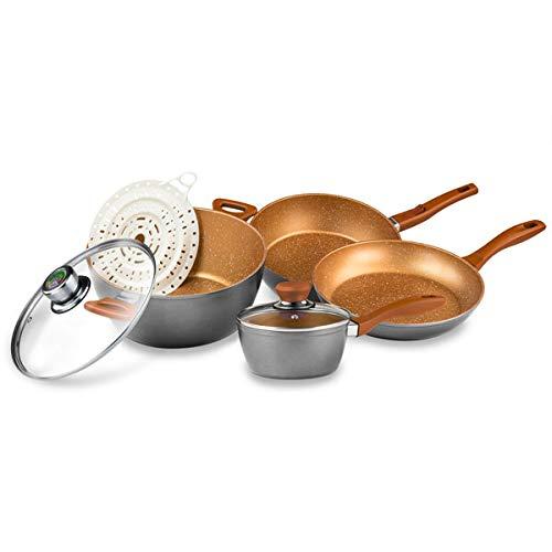 FlavorStone, Batería de Cocina Grande System, 1 Set de Cocina, Incluye: 2 Sartenes, 1 Cacerola, 1 Salsera con Tapa y 1 Accesorio de Silicón, Color Copp