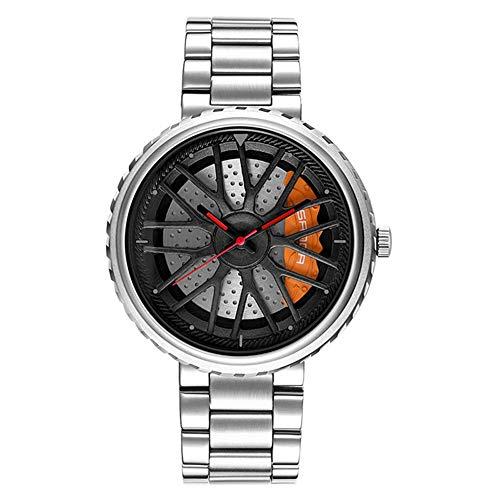 XIAN Sport Car Wheel Rim Hub 3D Tridimensional Dial Hueco Reloj de Cuarzo Correa de Acero Inoxidable Reloj a Prueba de Agua,All Silver