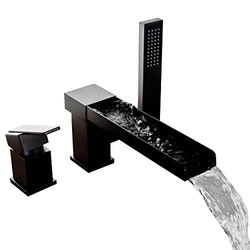 Lovedima Contemporary 3-Hole Bathroom Waterfall Bathtub Faucet Roman Tub Filler with Handheld Shower (Black)