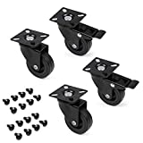 Emuca - Lote de 4 ruedas pivotantes para mueble Ø50mm con p