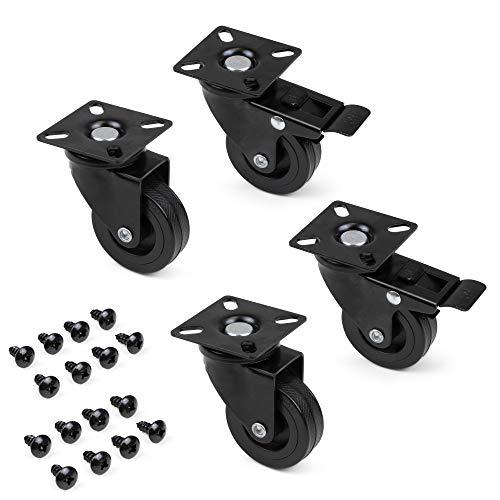 Emuca - Lote de 4 ruedas pivotantes para mueble Ø50mm con placa de montaje y rodamiento de bolas, ruedas de goma color negro.