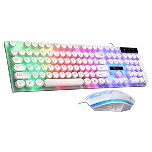Solustre Tastiera E Mouse da Gioco Combo Tastiera Retroilluminata Arcobaleno RGB Tastiera USB con Sensibilità Meccanica Cablata Compatta per Computer Gamer Office (Bianco)