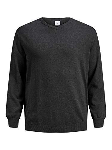 Jack & Jones JJEBASIC Knit V-Neck PS Sweater, Gris foncé mélangé, 4XL/6XL Homme
