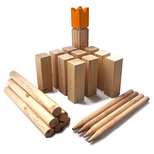 Ocean 5 Kubb Gold - Original Wikinger Wurfspiel - Premium FSC® Holzspiel im Stoffbeutel mit massiven Figuren - Schwedenschach Holz Outdoor Spiel Wurf Schach Spiele