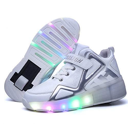 Kinderschuhe mit Rollen LED Leuchtend Schuhe mit Rollen 7 Farbe Farbwechsel Rädern Sneaker Sportschuhe Laufschuhe Blinkschuhe mit Automatisch Verstellbares Räder für Kinder Jungen Mädchen,31